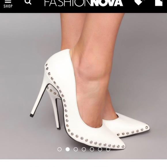 White Fashion Nova Studded Pumps | Poshmark